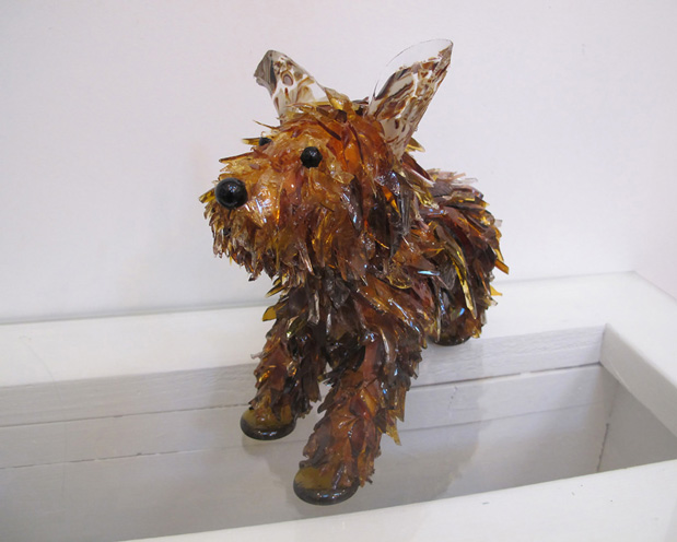 Rufus Shaggy Brown Dog glass sculpture