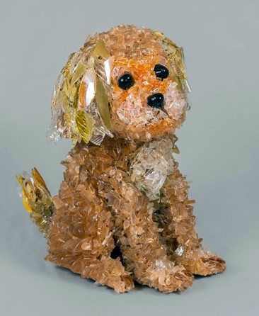 Sadie Brown Sitting Dog with Floppy Ears glass sculpture