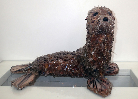 Sandy Galapagos Fur Seal glass sculpture