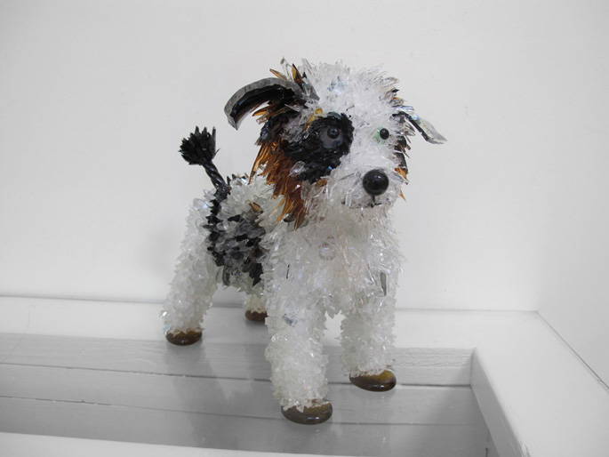 Scooter Australian Shepherd Mix glass sculpture