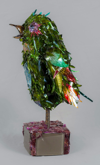 Sherbert Green Bird glass sculpture