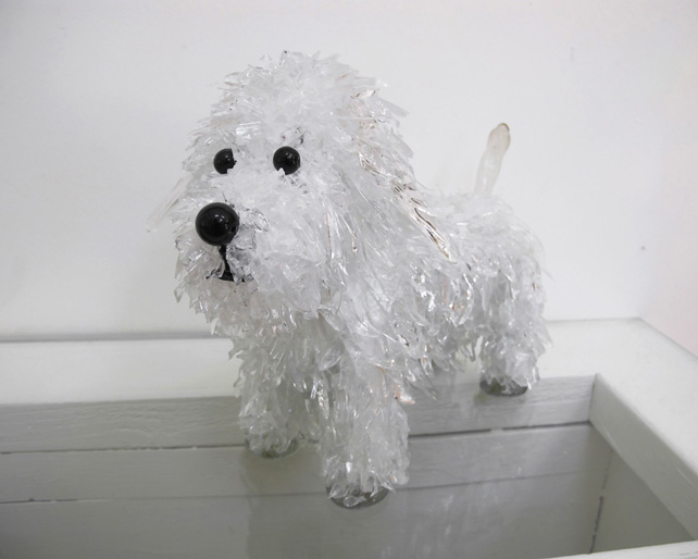 Spank White Long-Haired Dog glass sculpture