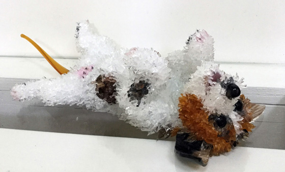Sparky Playing Dog on Back glass sculpture