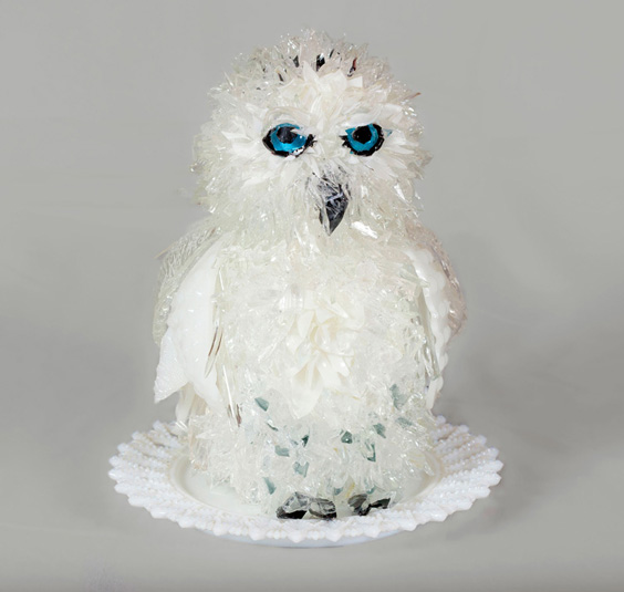 Spirit Snow Owl glass sculpture