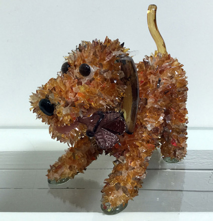 Sprout Dog with a Flower glass sculpture