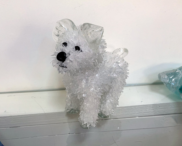 Squirt Small, white curly-tailed dog glass sculpture