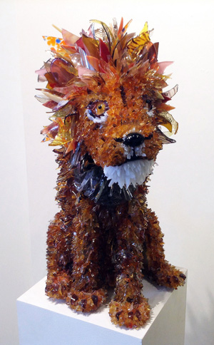 Suma Orange Toned Lion glass sculpture