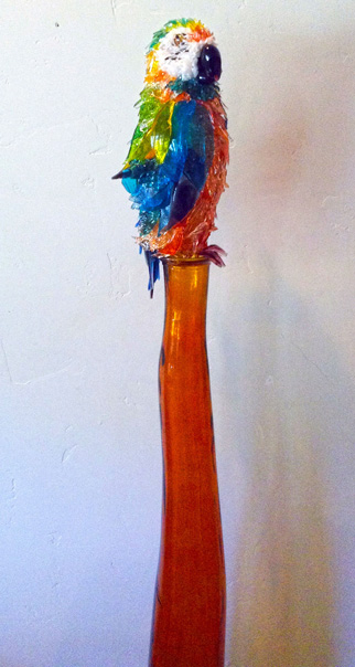 Tiki Shamrock Macaw glass sculpture