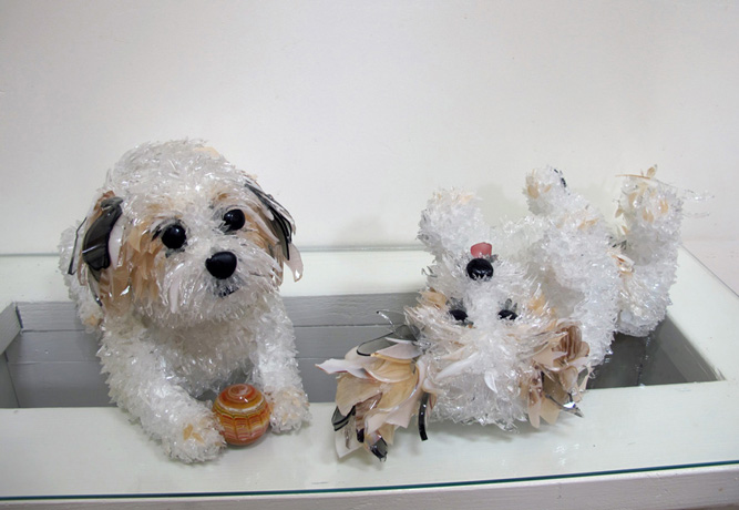 Toby Coton de Tulear glass sculpture