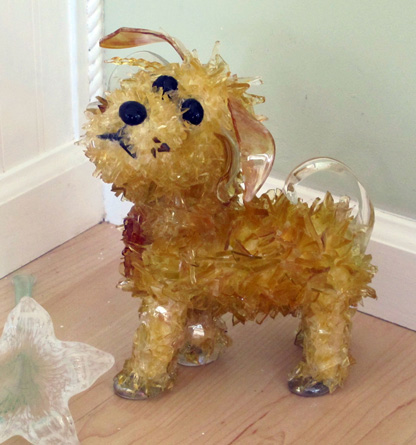 Toffee Caramel Color Dog glass sculpture