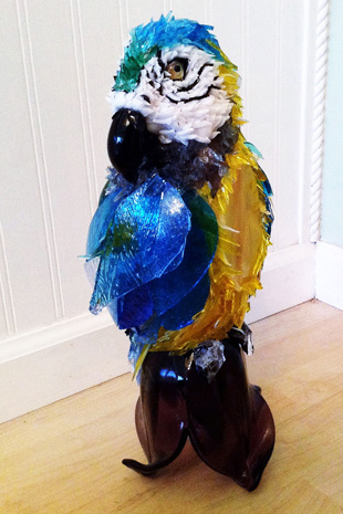 Topaz Blue and Gold Macaw glass sculpture