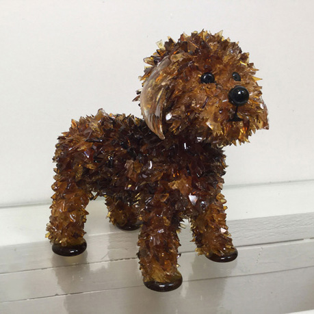 Turbo Brown Toy Poodle glass sculpture