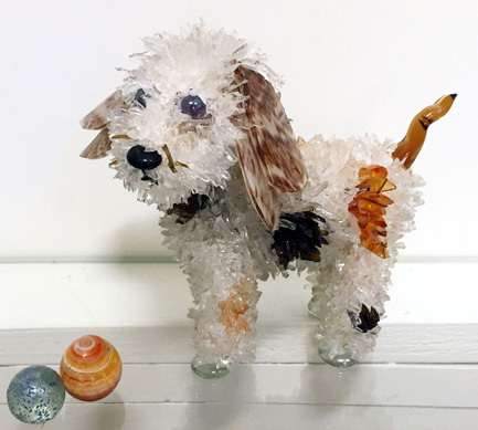 Wiggy Spotted White Dog glass sculpture