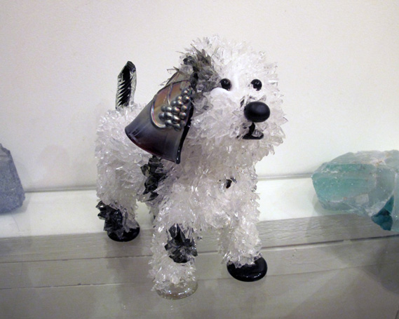 Wilbur Black and white spotted dog glass sculpture