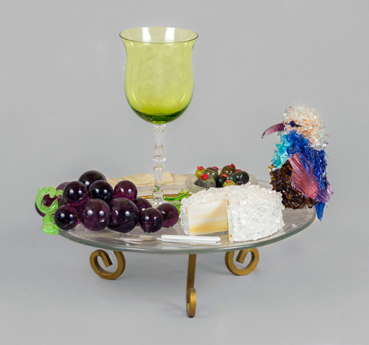 Wine and Cheese Plate Wine Plate with Goblet glass sculpture