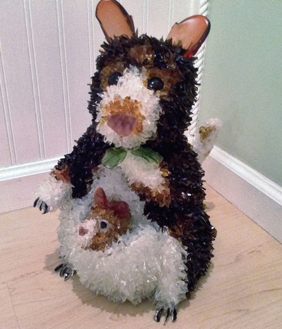 Zoe Tree Kangaroo with Joey glass sculpture