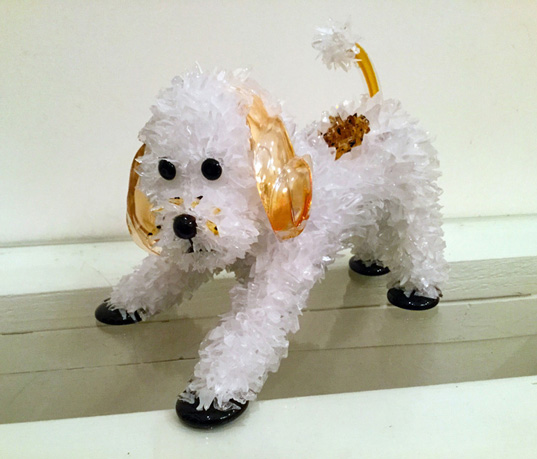 Zoobee Playful Poodle glass sculpture